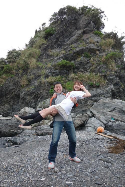 田の子島でお姫様抱っこ