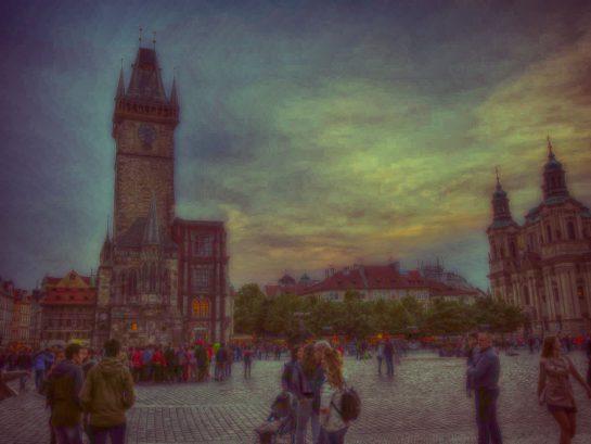 プラハの街並みを絵画風に