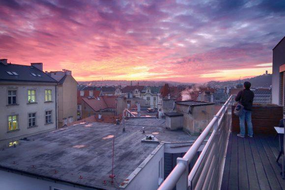プラハの綺麗な夕暮れ