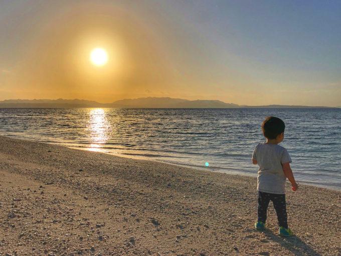 伊江島 早朝の海
