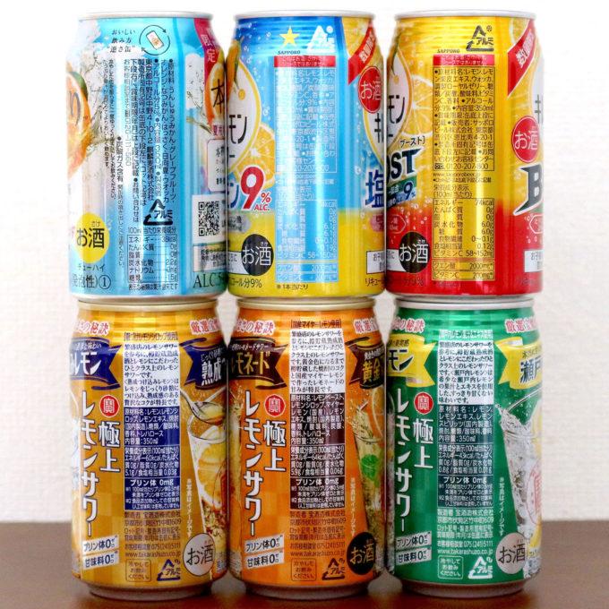 各缶チューハイの原材料